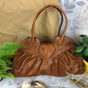 Patricia Nash Tan Cognac Leather Shoulder Tote Bag
